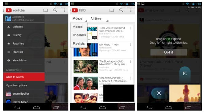 Google actualiza YouTube para Android