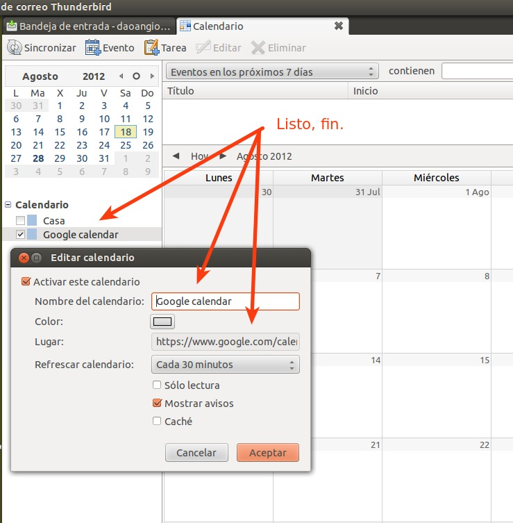 Sincronizar Google Calendar con Thunderbird -Lightning