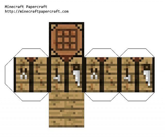 Minecraft en papel papercraft taringa for How to draw a crafting table