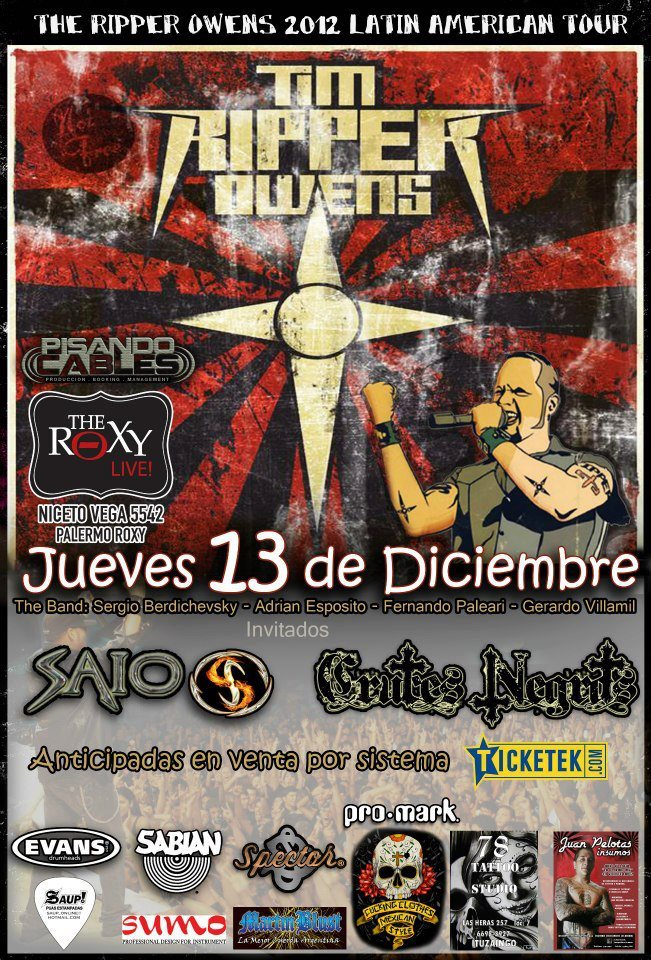 Ripper Owens - Roxy Live, 13 Dic 2012, Argentina (mi video)
